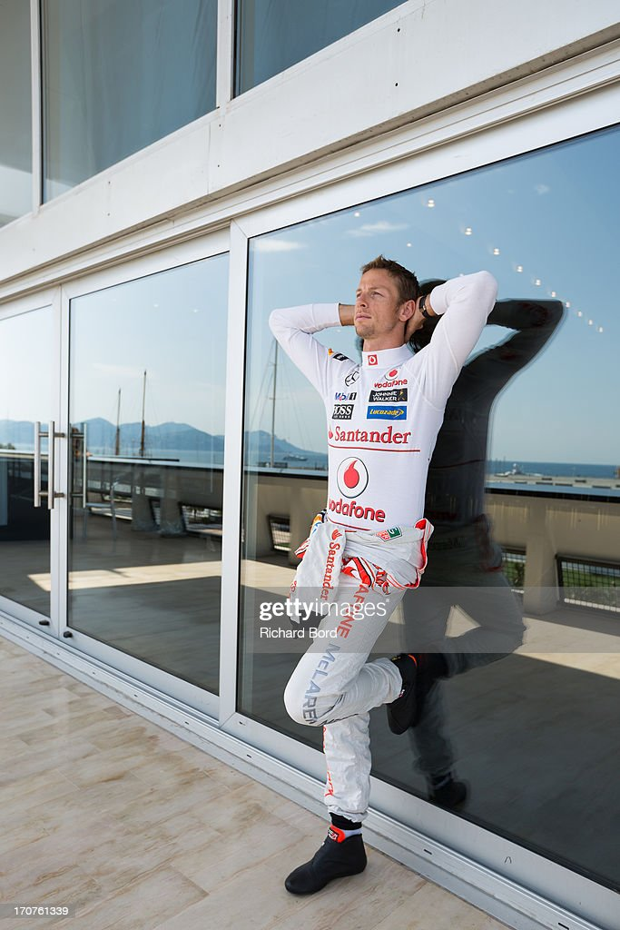 Formula one driver <a gi-track='captionPersonalityLinkClicked' href=/galleries/search?phrase=Jenson+Button&family=editorial&specificpeople=171505 ng-click='$event.stopPropagation()'>Jenson Button</a> poses during a portrait session as part of Cannes Lions International Festival Of Creativity at Palais des Festivals on June 17, 2013 in Cannes, France.