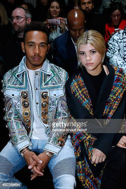 Formula One driver Lewis Hamilton and Sofia Richie attend the Balmain Menswear Fall/Winter 20172018 show as part of Paris Fashion Week on January 21...