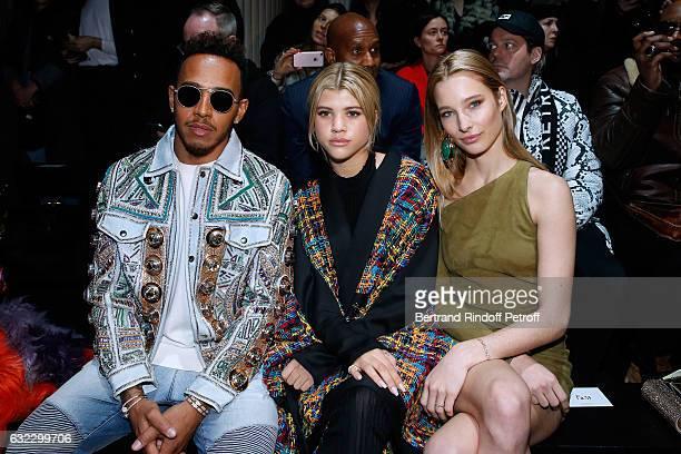 Formula One driver Lewis Hamilton Sofia Richie and Ilona Smet attend the Balmain Menswear Fall/Winter 20172018 show as part of Paris Fashion Week on...