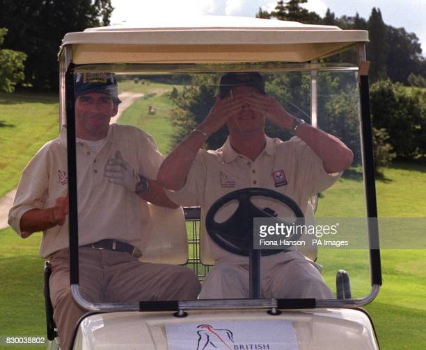 Formula One drivers Damon Hill and David Coulthard compete in Grand Prix celebrity golf tournament in aid of the British Brain and Spine Foundation...