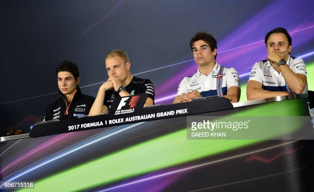 Formula One drivers Force India's French driver Esteban Ocon Mercedes' Finish driver Valtteri Bottas Williams' Canadian driver Lance Stroll and...