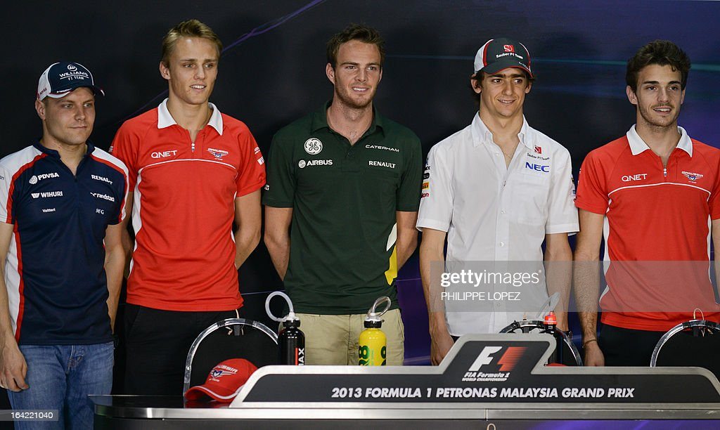 Formula one drivers Williams driver Valtteri Bottas of Finland, Marussia driver Max Chilton of Britain,Caterham driver Giedo Van Der Garde of the Netherlands,Sauber driver Esteban Gutierrez of Mexico and Marussia driver Jules Bianchi of France pose during a press conference ahead of the Formula One Malaysian Grand Prix in Sepang on March 21, 2013. The Malaysian Grand Prix takes place on March 24. AFP PHOTO / Philippe Lopez