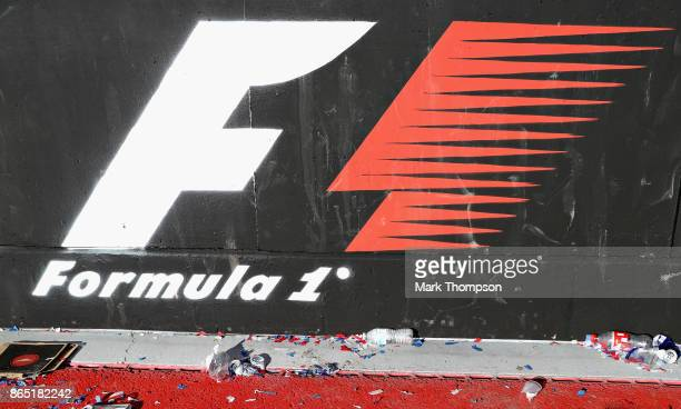 Formula One logo painted on the pit wall after the United States Formula One Grand Prix at Circuit of The Americas on October 22 2017 in Austin Texas