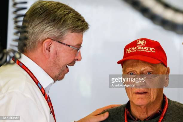 Formula One Managing Director of Motorsports Ross Brawn and former World Champion Niki Lauda on Friday Free Practice during the 2017 Rolex Australian...