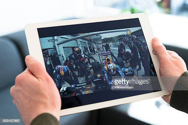 Formula One race streaming on an Apple iPad