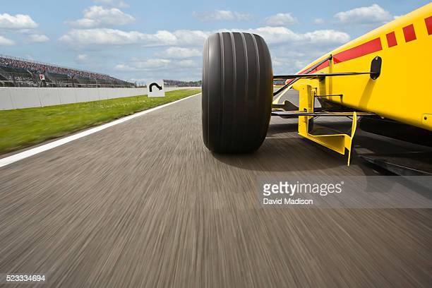 Formula One Racecar Heading for a Corner