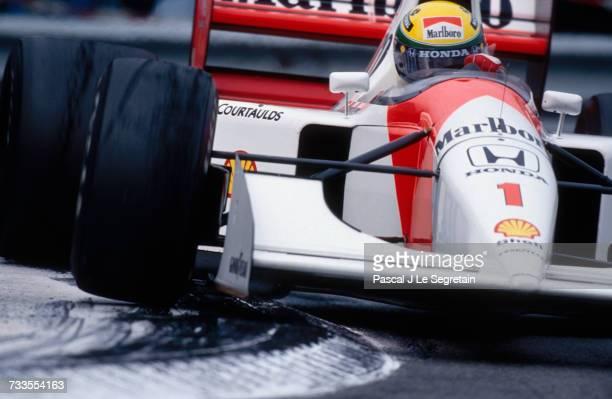 Formula One racer Ayrton Senna clips a turn during the 1992 Monaco Grand Prix in MonteCarlo