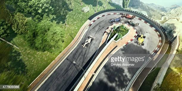 Voiture de formule une course sur la piste