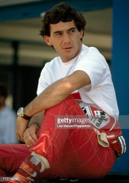 Formula One racing driver Ayrton Senna of Brazil posed wearing a TAG Heuer watch during testing in Jerez Spain circa February 1991