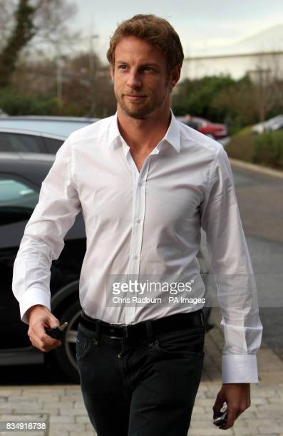 Formula One Racing Driver Jenson Button arrives at the F1 Honda Racing Team headquarters at Brackley Northamptonshire