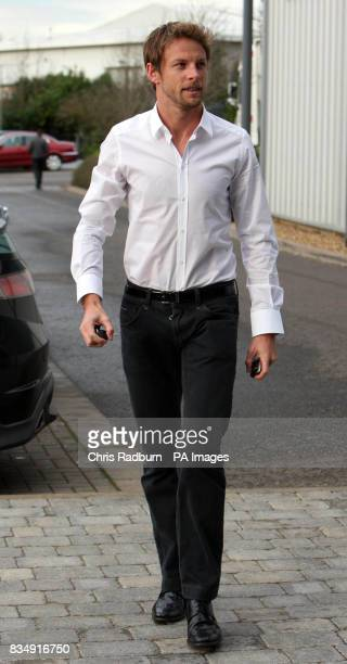 Formula One Racing Driver Jenson Button arrives at the F1 Honda Racing Team headquarters in Brackley Northamptonshire