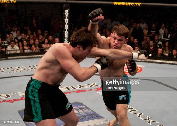 Forrest Griffin and Stephan Bonnar trade punches during the Light Heavyweight Final bout during the live Ultimate Fighter Season Finale at the Cox...