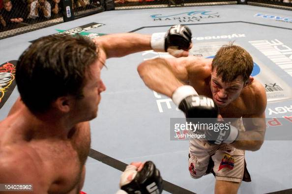 Forrest Griffin punches Stephan Bonnar at UFC 62 at the Mandalay Bay Events Center on August 26 2006 in Las Vegas Nevada