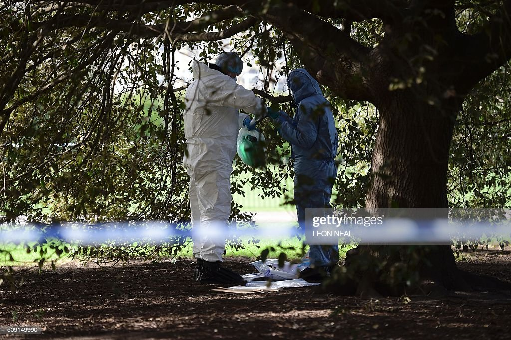 Forsensics officers tie the end of an evidence bag containing a plastic fuel cannister as they work behind a police cordon under a tree close to the scene where a man died after being discovered on fire in the park outside the wall of Kensington Palace in London on February 9, 2016. A man has died after being found on fire outside Kensington Palace in the early hours of February 9, police said. Officers were called to the London home of the Duke and Duchess of Cambridge after receiving reports a man was behaving suspiciously. On arrival a man was found on fire and despite efforts from officers and paramedics the man was pronouced dead at the scene. NEAL