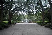 Forsyth Park Fountian Along Pathway in Savannah Georgia