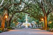 Savannah, Georgia, USA at Forsyth Park Fountain.