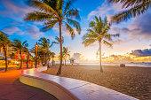 Fort Lauderdale Beach, Florida, USA at dawn.