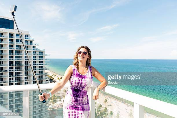 Fort Lauderdale Beach Woman Having Fun Taking Selife Vacation Travel