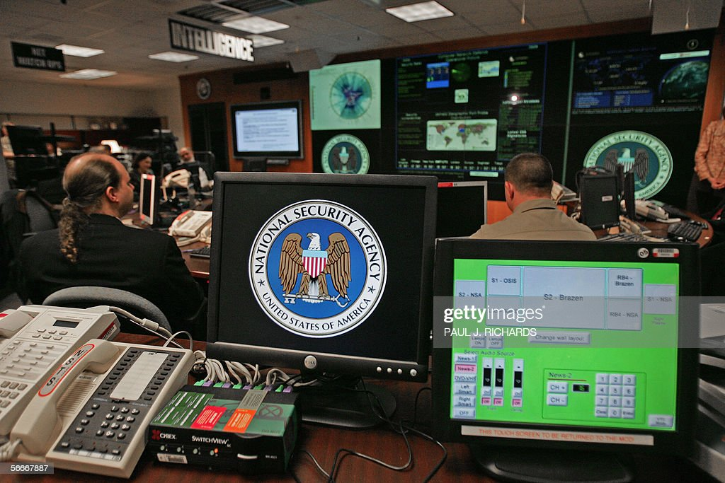 A computer workstation bears the National Security Agency (NSA) logo inside the Threat Operations Center inside the Washington suburb of Fort Meade, Maryland, intelligence gathering operation 25 January 2006 after US President George W. Bush delivered a speech behind closed doors and met with employees in advance of Senate hearings on the much-criticized domestic surveillance. AFP PHOTO/Paul J. RICHARDS