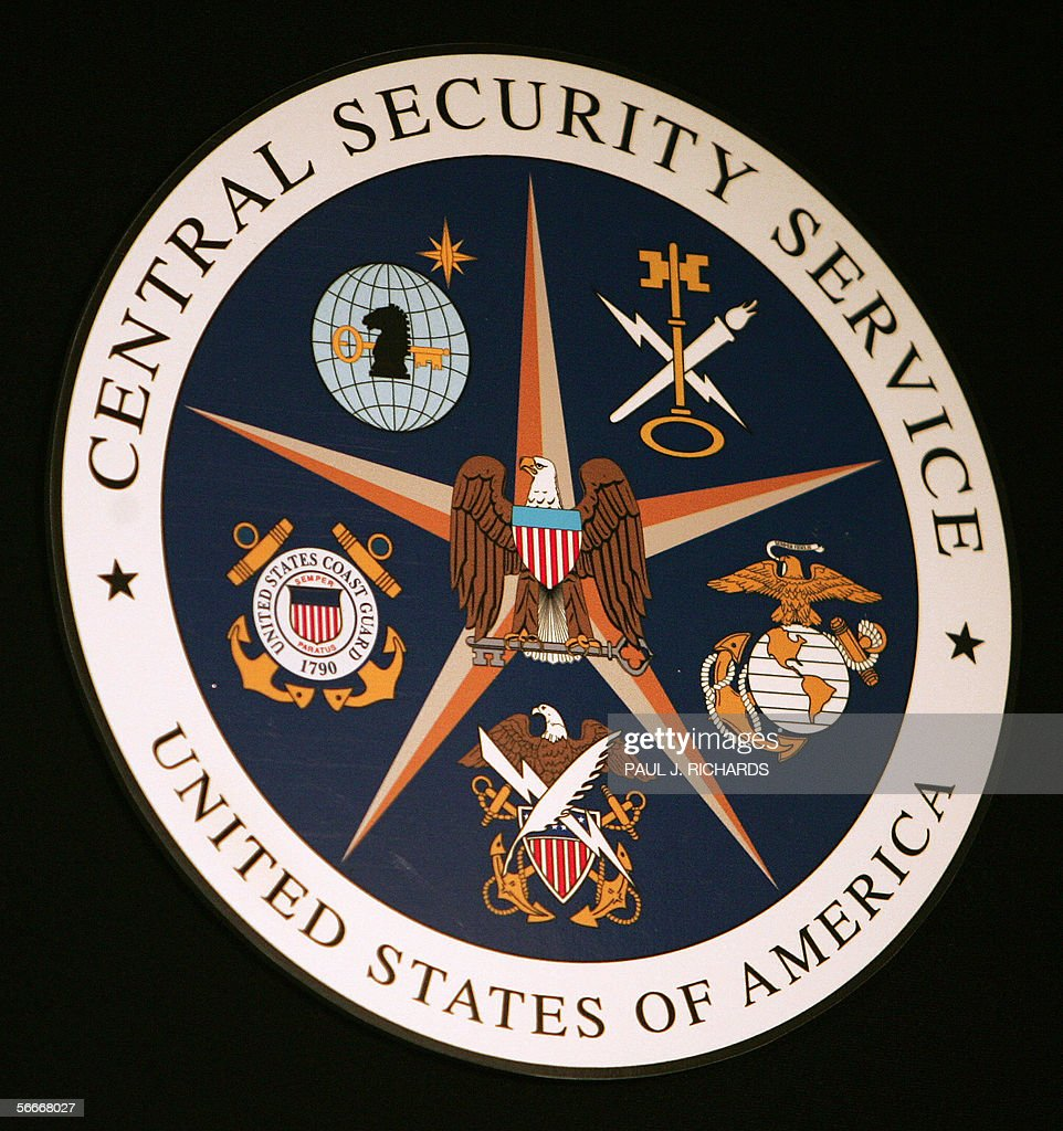 The logo of the Central Security Service hangs at the Threat Operations Center inside the National Security Agency (NSA) in the Washington suburb of Fort Meade, Maryland, 25 January 2006. US President George W. Bush delivered a speech behind closed doors and met with employees in advance of US Senate hearings on the much-criticized domestic surveillance. AFP PHOTO/Paul J. RICHARDS
