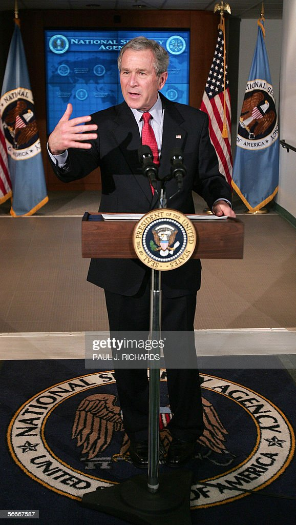 US President <a gi-track='captionPersonalityLinkClicked' href=/galleries/search?phrase=George+W.+Bush&family=editorial&specificpeople=122011 ng-click='$event.stopPropagation()'>George W. Bush</a> speaks to the press at the door of the Threat Operations Center inside the National Security Agency (NSA) in the Washington suburb of Fort Meade, Maryland, 25 January 2006 after delivering a speech behind closed doors and meeting with employees in advance of US Senate hearings on the much-criticized domestic surveillance. AFP PHOTO/Paul J. RICHARDS