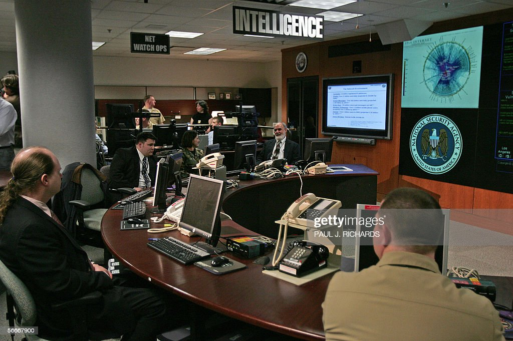 View of the National Security Agency (NSA) Threat Operations Center in the Washington suburb of Fort Meade, Maryland, 25 January 2006. US President George W. Bush delivered a speech behind closed doors and met with employees in advance of Senate hearings on the much-criticized domestic surveillance. AFP PHOTO/Paul J. RICHARDS