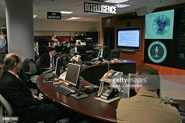 View of the National Security Agency Threat Operations Center in the Washington suburb of Fort Meade Maryland 25 January 2006 US President George W...