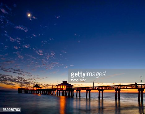 Fort Myers Beach Pier at Dusk 1 : Stock Photo