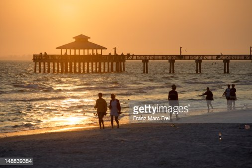 Fort Myers Beach Pier at sunset.