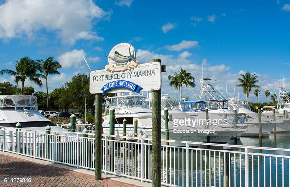 Fort Pierce Florida the Fort Pierce City Marina on water with boats and slips