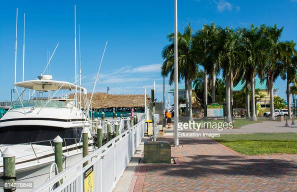 Fort Pierce Florida the Fort Pierce City Marina on water with boats and Tiki Bar Restaurant