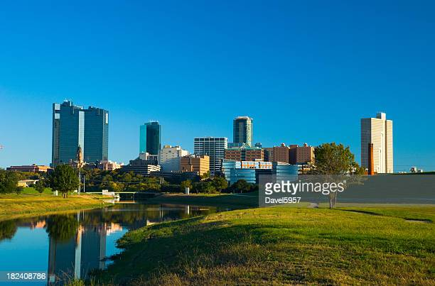 Fort Worth skyline, river, and park
