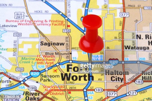 Fort Worth, Texas on a map.