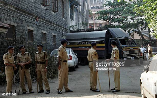 Forters alike security at CP office where Ajmal Kasab is kept in Mumbai on Thursday