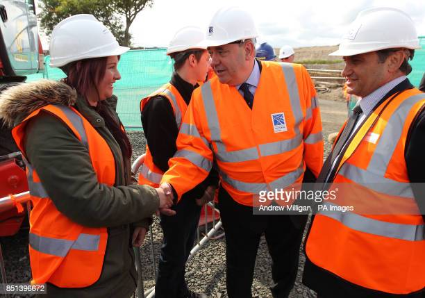 Forth Bridge worker Laura Moffat meets First Minister Alex Salmond after he unveiled the name for the new bridge being built over the Firth of Forth...