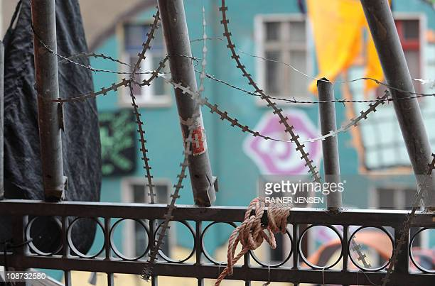 A fortified balcony can be seen after the eviction of squatters from the Liebigstrasse 14 in Berlin February 2 2011 After a yearlong struggle between...