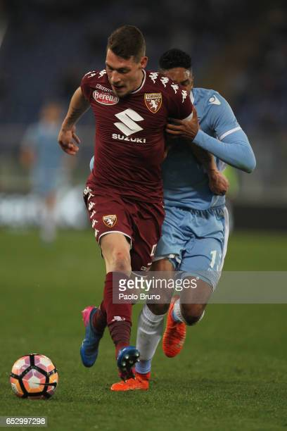 Fortuna Wallace of SS Lazio competes for the ball with Andrea Belotti of FC Torino during the Serie A match between SS Lazio and FC Torino at Stadio...