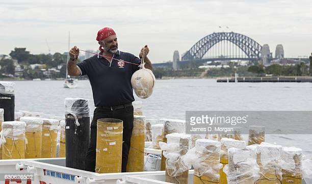 Fortunato Foti Sydney's NYE fireworks director from Foti Fireworks holds one of the shells on December 29 2016 in Sydney Australia Sydney's New...