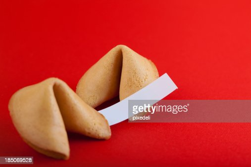 Fortune cookie on red paper