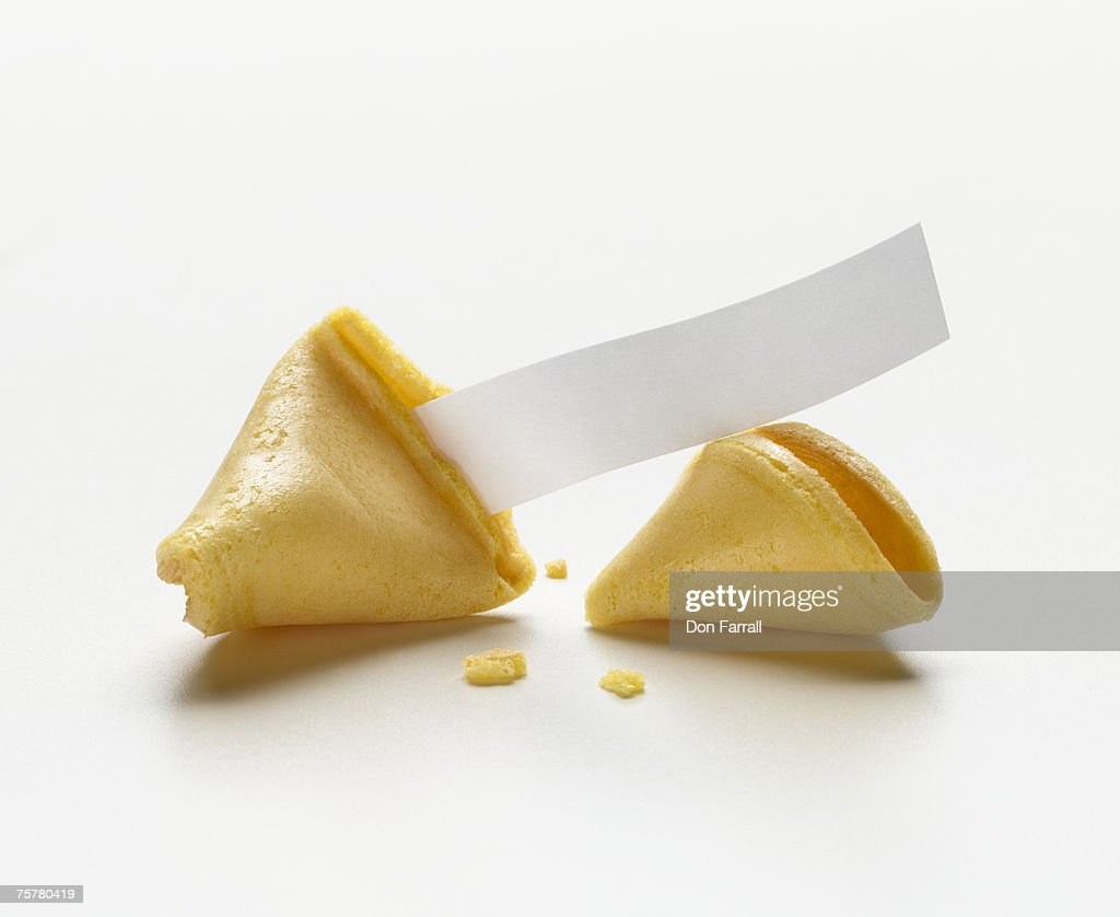 Fortune cookie with blank fortune : Stock Photo