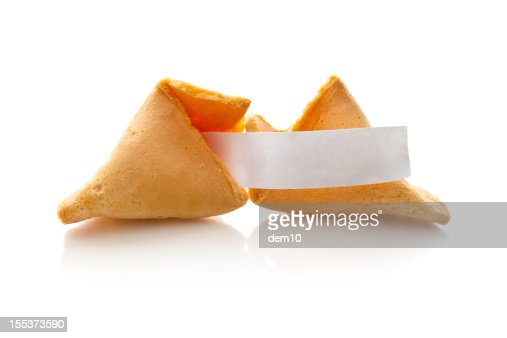 Fortune cookie with blank paper