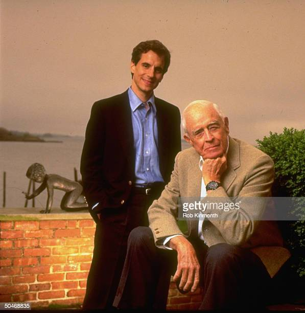 Fortune magazine editor Peter Petre and former IBM chmn Thomas Watson Jr coauthors of FATHER SON CO at Watson's home Connecticut 1990