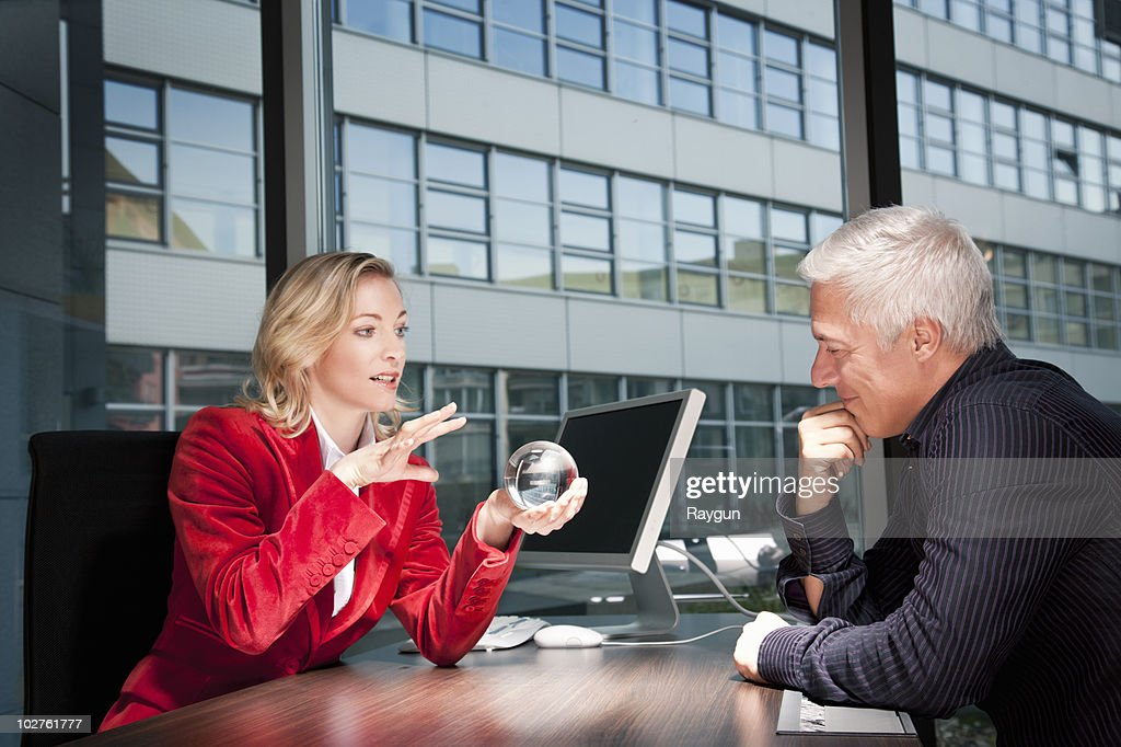 Fortune teller and man in office