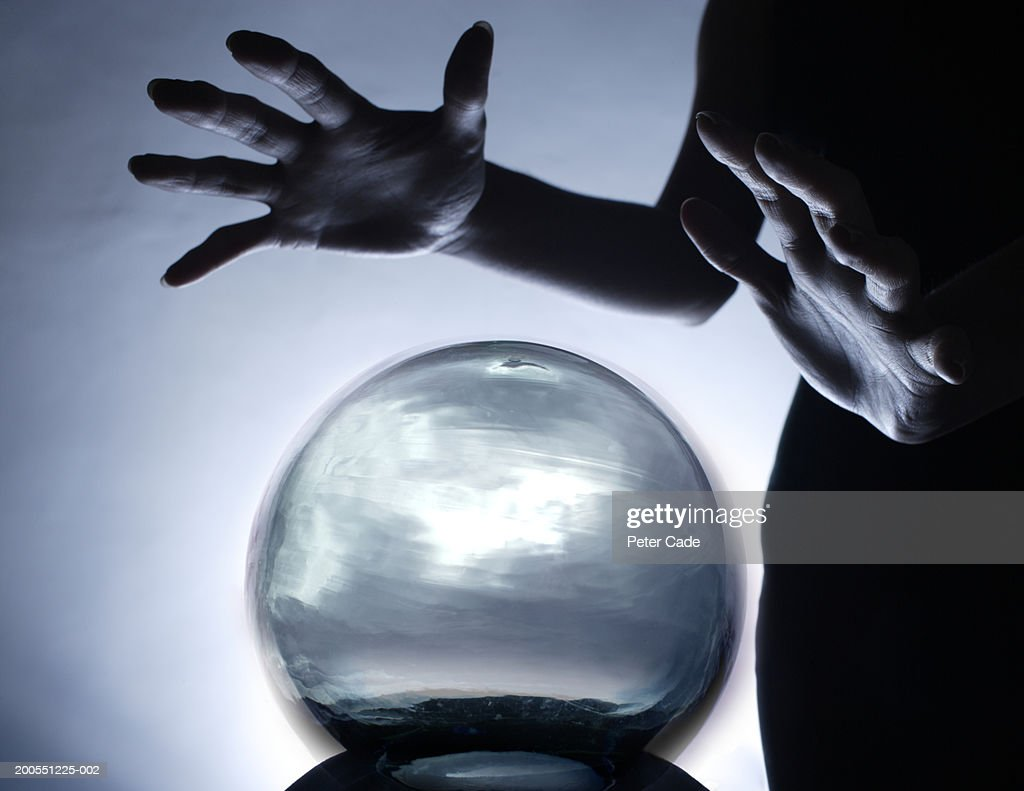 Fortune teller with  crystal ball, close-up : Stock Photo