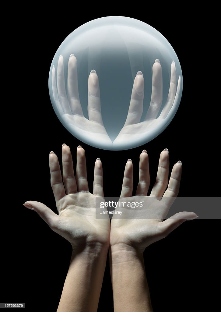 Fortune Teller's Hands With Glowing Crystal Ball