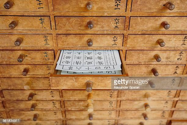 Fortune telling drawer at Asakusa temple, Tokyo