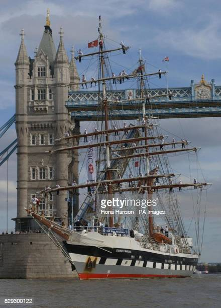 Forty eight teenagers from schools across the UK sail up London's River Thames on the 60m stell hulled two master Stavros S Niarchos after taking...