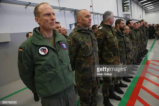 Forty members of the Bundeswehr the German armed forces attend a ceremony shortly before boarding a Luftwaffe A400M transport plane destined for...