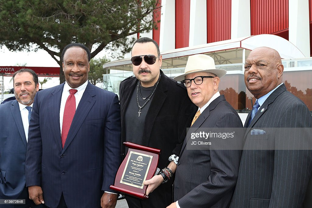 Pepe Aguilar Donates Dozens Of Musical Instruments To Children Of Promise Preparatory Academy With Inglewood Mayor James Butts