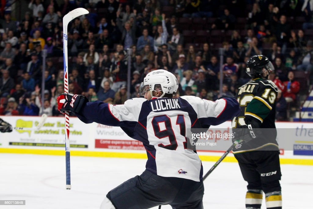 Forward Aaron Luchuk #91 of the Windsor Spitfires celebrates his second period goal against the London Knights on October 12, 2017 at the WFCU Centre in Windsor, Ontario, Canada.